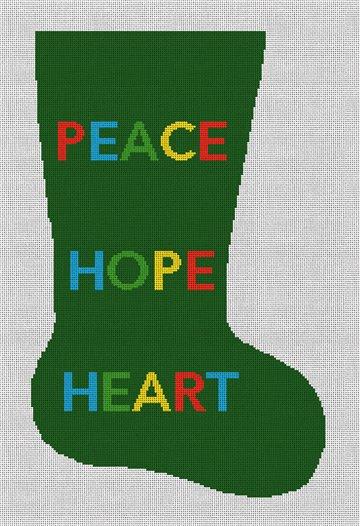 Peace Hope Heart Needlepoint Stocking Canvas