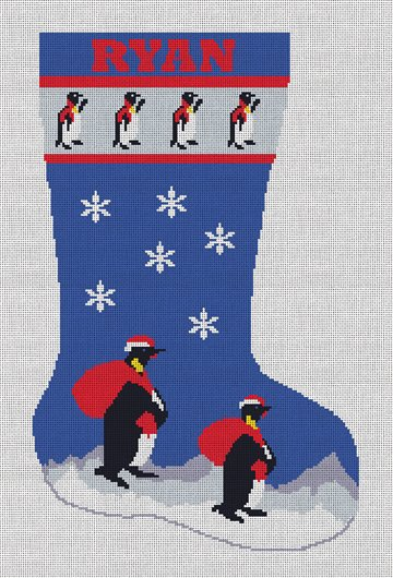 Penguins Christmas Stocking Needlepoint Canvas