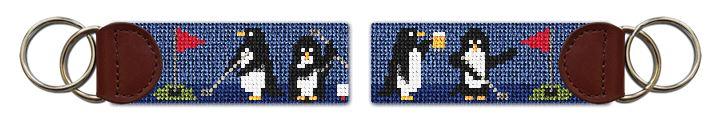 Penguins On Par Needlepoint Key Fob