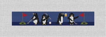 Penguins On Par Needlepoint Key Fob Canvas