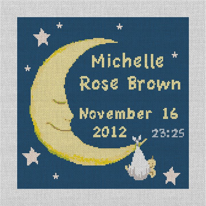 Personalized Baby and Moon Needlepoint Canvas
