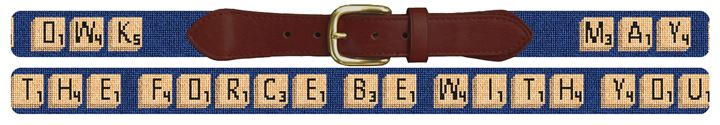 Personalized Classic Word Game Needlepoint Belt