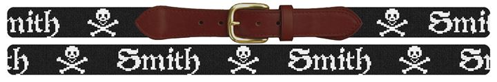 Personalized Jolly Roger Needlepoint Belt