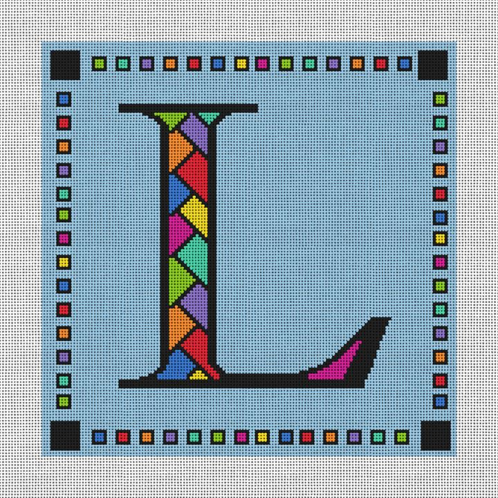 Personalized Letter Pillow Needlepoint Canvas