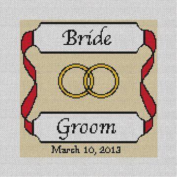 Personalized Red Ribbon Ring Bearer Pillow Canvas