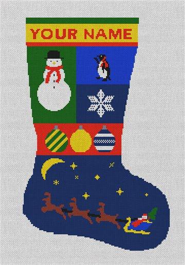 Personalized Santa Needlepoint Stocking Canvas