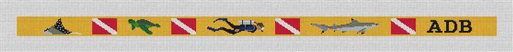 Personalized Scuba Diving Needlepoint Belt Canvas