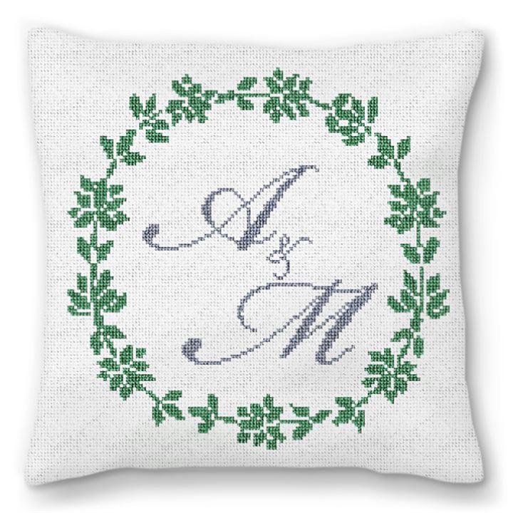 Personalized Wreath Needlepoint Wedding Pillow