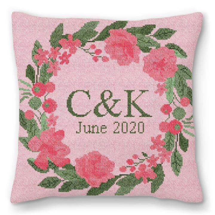 Pink Blush Wedding Needlepoint Pillow