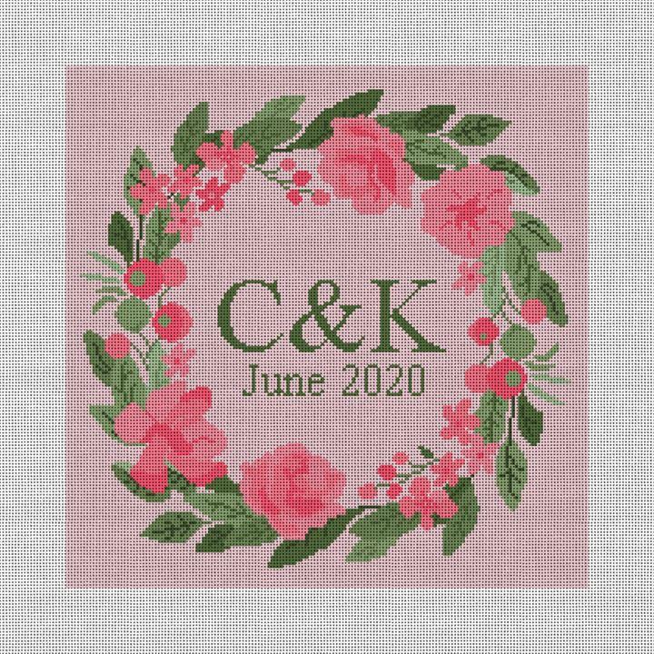 Pink Blush Wedding Needlepoint Pillow Canvas