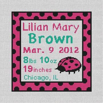 Pink Ladybug Needlepoint Baby Pillow Canvas