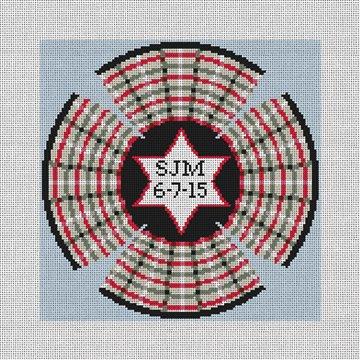 Plaid Personalized Yarmulke Needlepoint Canvas