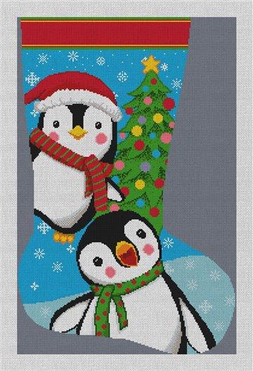 Playful Penguins Stocking Needlepoint Canvas