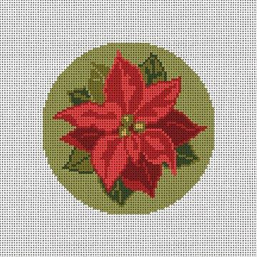 Poinsettia Needlepoint Ornament Canvas
