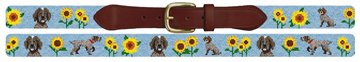 Pointer In The Sunflowers Needlepoint Belt