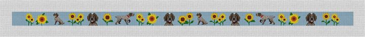 Pointer In The Sunflowers Needlepoint Belt Canvas