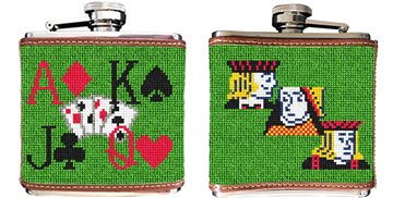 Poker Needlepoint Flask