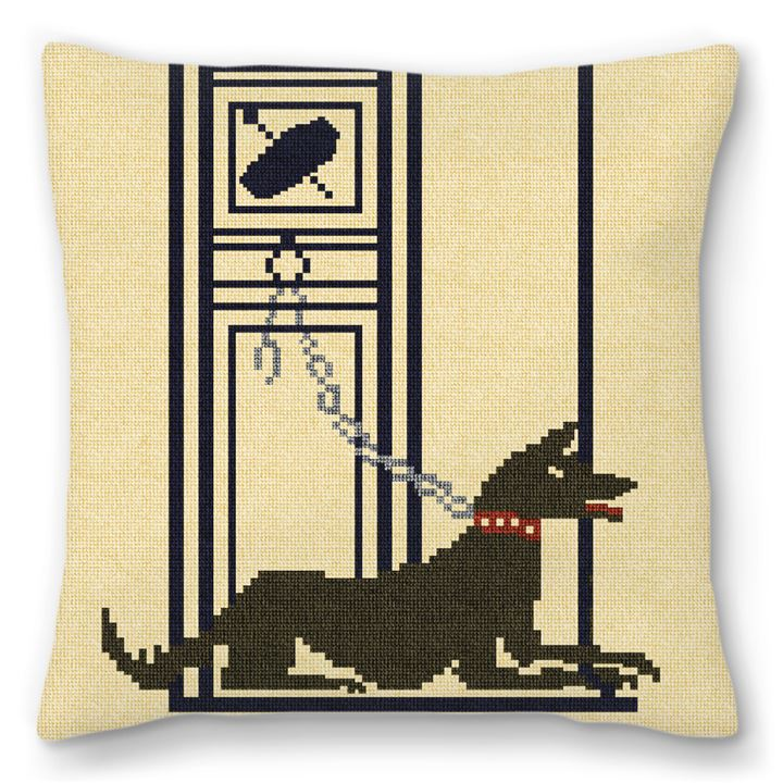Pompeii Mosaic Guard Dog Needlepoint Pillow