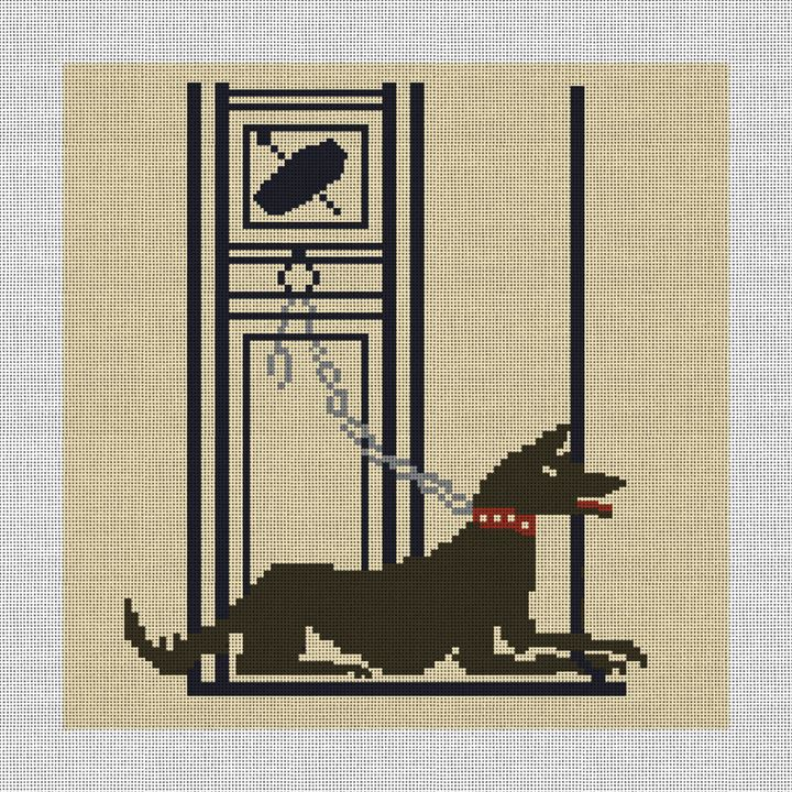 Pompeii Mosaic Guard Dog Needlepoint Pillow Canvas