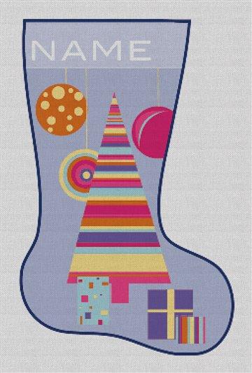 Pop Christmas Tree Needlepoint Stocking Canvas