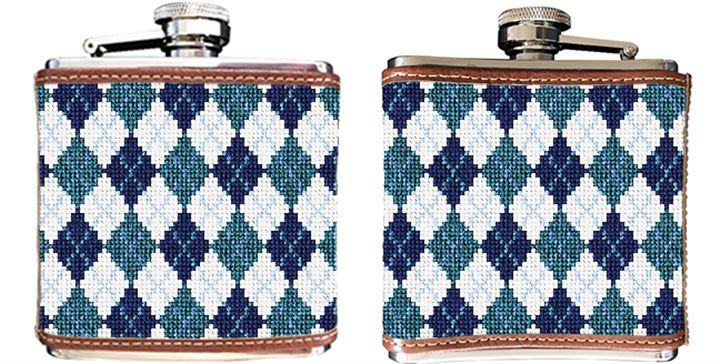 Preppy Argyle Needlepoint Flask
