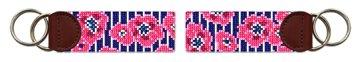 Preppy Floral Pinstripe Needlepoint Key Fob