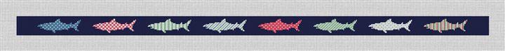 Preppy Great White Shark Needlepoint Belt Canvas