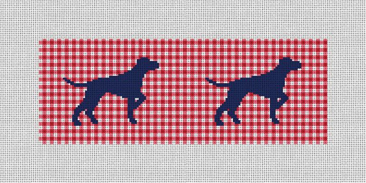 Preppy Pointing Dog Needlepoint Wallet Canvas