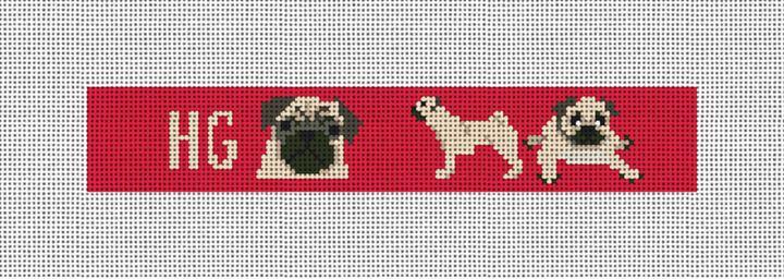 Preppy Pug Needlepoint Key Fob Canvas