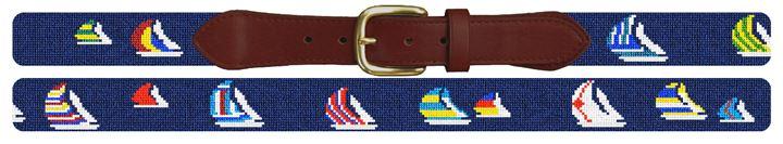 Preppy Sailing Regatta Needlepoint Belt
