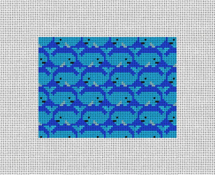 Preppy Whale Needlepoint Card Wallet Canvas