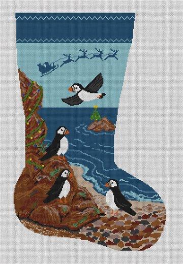 Puffins Christmas Needlepoint Stocking Canvas