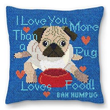 Pug Loves Food Needlepoint Pillow