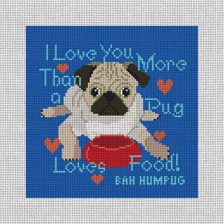 Pug Loves Food Needlepoint Pillow Canvas