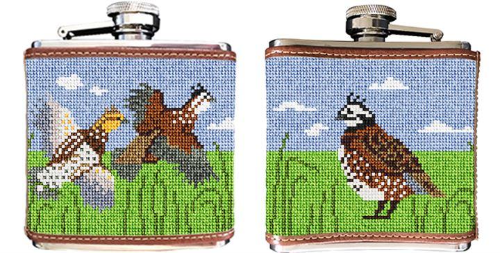 Quail Needlepoint Flask