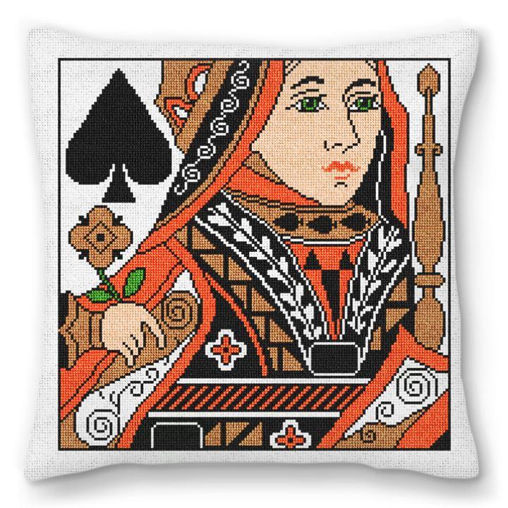 Queen of Spades Needlepoint Pillow