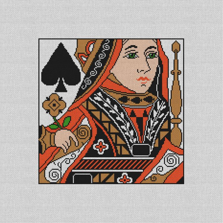 Queen of Spades Needlepoint Pillow Canvas