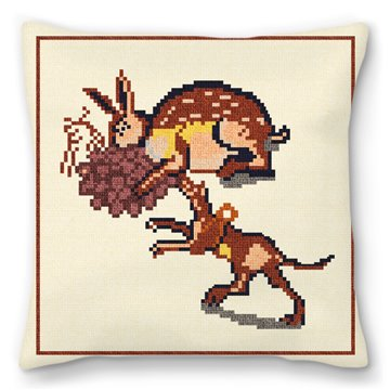 Rabbit and Dog Mosaic Needlepoint Pillow
