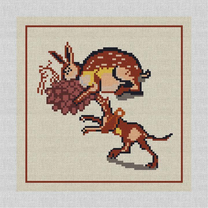 Rabbit and Dog Mosaic Needlepoint Pillow Canvas
