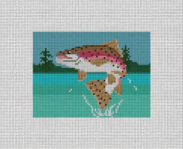 Rainbow Trout Needlepoint Card Wallet Canvas