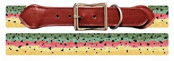 Rainbow Trout Skin Needlepoint Dog Collar