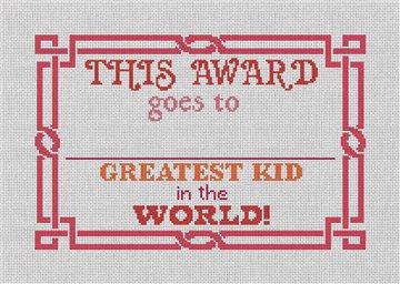 Red Greatest Kid Needlepoint Canvas