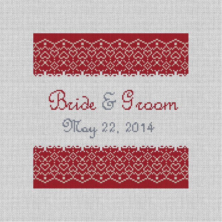 Red Lace Custom Needlepoint Canvas