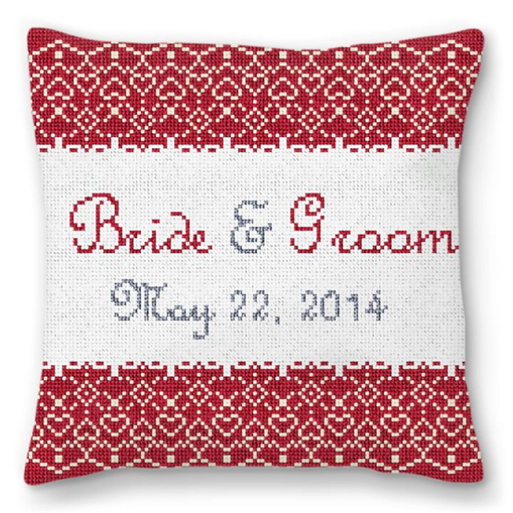 Red Lace Personalized Ring Bearer Pillow