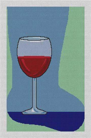 Red Wine Christmas Stocking Needlepoint Canvas