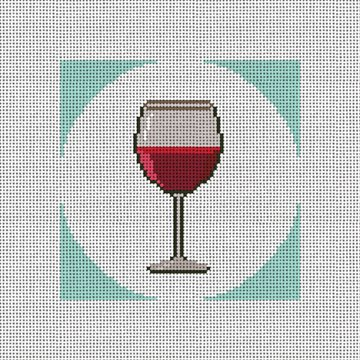 Red Wine Coaster Needlepoint Canvas