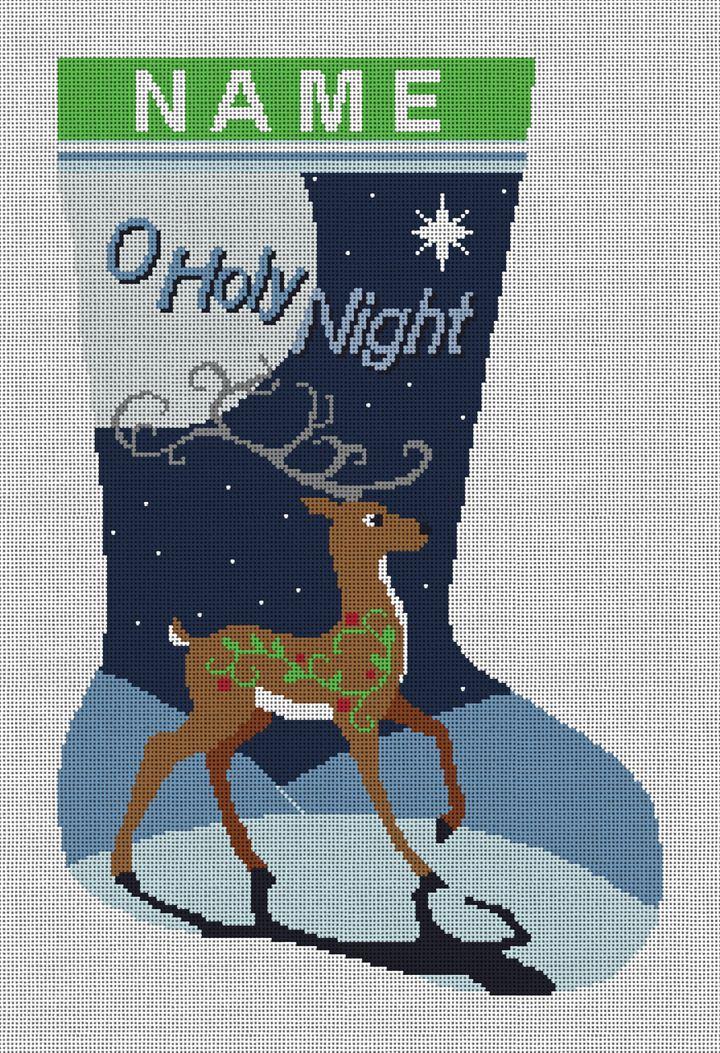 Reindeer Christmas Stocking Needlepoint Canvas