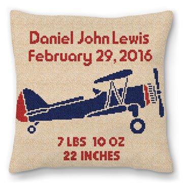 Retro Boys Airplane Needlepoint Pillow