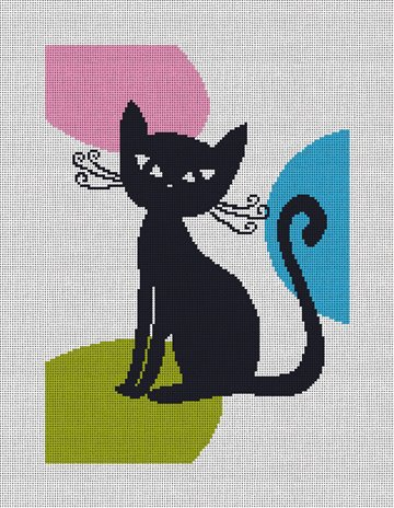 Retro Cat Needlepoint Canvas