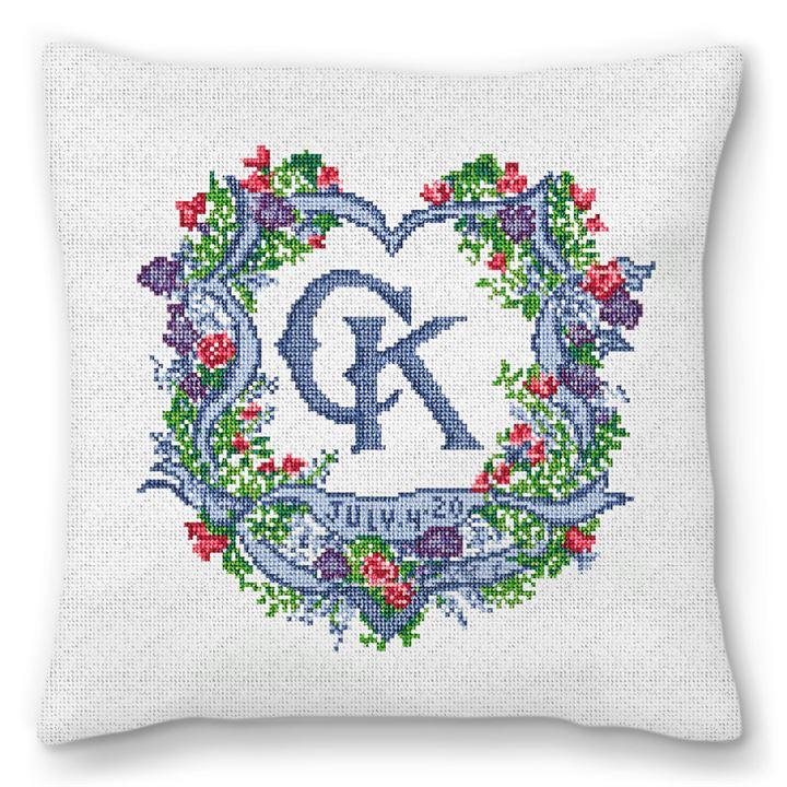 Ribbon Crest Wedding Needlepoint Pillow